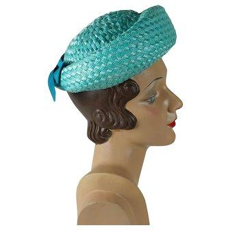 1960s Vintage Hat Teal Cello Straw Breton Sz 22