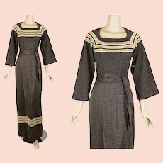 1970s Vintage Formal Gown  - Gold and Brown Metallic Lame - Evening Gown - NOS Sz 10 B34