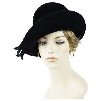 1970s Vintage Hat Black Felt Asymmetrical Breton by Kutz Sz 22