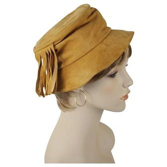1970s Vintage Hat Tan Suede with Side Fringe Hippie BoHo by Dorsay Sz 21