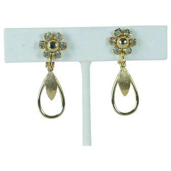 Vintage Earrings Goldtone and Rhinestone Teardrop Clipons by Sarah Coventry