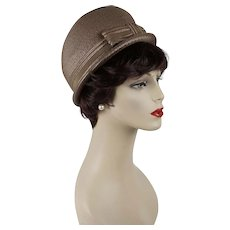 1960s Vintage Hat Taupe Straw Bubble Crown Derby Sz 21 1/2