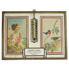1949 Vintage Framed Thermometer and Calendar Mosers Dairy Ellington CT