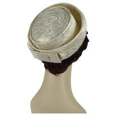1960s Vintage Hat Gold Brocade Breton Sz 21 1/2