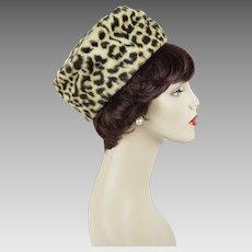 1960s Vintage Hat Faux Leopard Fur Pillbox
