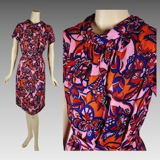 1960s Vintage Dress Psychedelic Print Sheath Shift by Miss Smith Sz 14 B40 W38