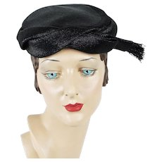 1950s Vintage Hat Black Straw Pillbox Close Hat - L S Ayres