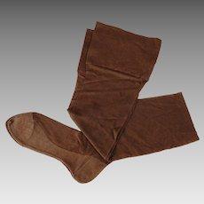 1920s - 1930s Vintage Brown Silk Stockings 8 3/4
