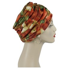 1970s Vintage Hat Tangerine and Green Abstract Turban Sz 22