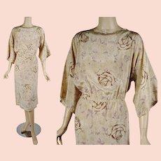1980s Vintage Dress Silk Floral Design Blouson Style by Don Wolf B46 W34-40  Sz 16-18