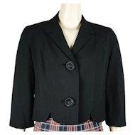 1950s Vintage Jacket Black Linen Crop Suit Coat by Friedmont B40 Sz M-L