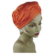 1970s Vintage Hat Tangerine Silk Turban Sz 22