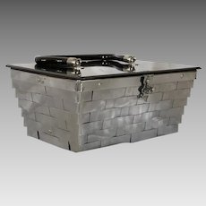 1950s Vintage Handbag Silver Metal Weave Box Purse by Dorset Rex