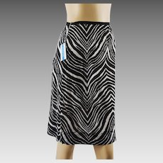 1960s Vintage Half Slip  NOS NWT Black and White Animal Print Sz 7