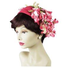 1950s Vintage Hat Pink Felt Half Hat Asymmetrical with Pink Flowers - Clip Hat