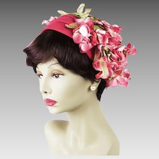 1950s Vintage Hat Pink Felt Half Hat Asymmetrical with Pink Flowers - Clip Hat