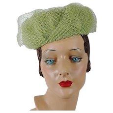 1960s Vintage Hat Lime Green Open Crown Net Pillbox by Modern Miss