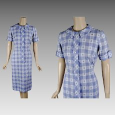 1960s Vintage Dress Blue and White Gingham Shirt Dress \ Casual Day Dress \ POCKETS  B38 W27