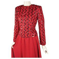 1980s Vintage Dress Party Formal Red Sequin Cocktail B36