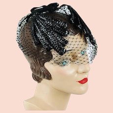 Vintage Fascinator Black Cello with Thick Birdcage Veiling
