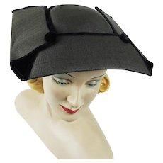 1950s Vintage Hat Unique Straw and Velvet Platter Style