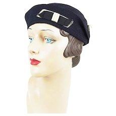 1920s Vintage Hat Navy Blue Sailor or Sporting Cap Sz 21