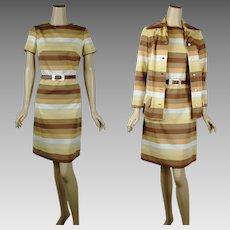 1970s Vintage Dress and Jacket - Earthtone Stripes by Valley Set Sz 10 B35 W32