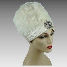 Vintage Hat White Rabbit Fur Bubble Crown Turban w/ Rhinestone Brooch by Jan Leslie Sz 21 1/2