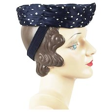 1940s Vintage Tilt Hat Navy Blue with White Polka Dots Sz 22 1/2