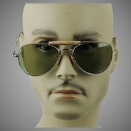 Vintage Sunglasses Unisex Aviator Goldtone Wire Frames w/ Cable Temples