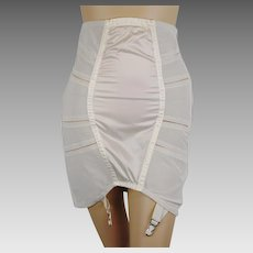 1950s Open Bottom Boned Girdle   Side Zipper   Metal Garters   Higher Waist