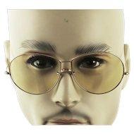 Vintage Pilot Style Sunglasses w/ Cable Temples - Unisex