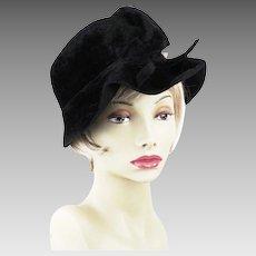 1950s Vintage Hat Black Faux Fur Cloche with Pearl Embellishment by Mr Leonard Sz 22
