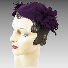 1940s Vintage Hat Plum Half Cap w/ Side Petals by Doeskin