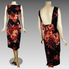 1950s Vintage Dress Black and Tangerine Sheath w/ Open Back B40 W26