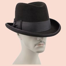 1960s Vintage Homburg Brown Felt Fedora w/ Original Box Cavanagh - Worth & Worth Sz 7 3/8
