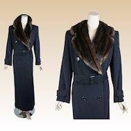 Vintage Maxi Coat Ralph Lauren Black Faux Fur Double Breasted Vintage Inspired Sz 4 B42