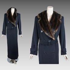 Vintage Maxi Coat Ralph Lauren Black Faux Fur Double Breasted Vintage Inspired Sz 4 B42