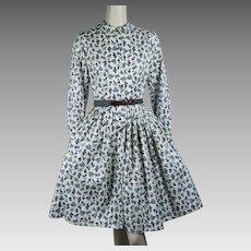 1960s Vintage Villager Shirtwaist Dress ~ Cotton Full Skirt Sz 10 B36 W24