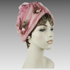 1970s Vintage Hat Shades of Pink ~ Net and Floral Turban by Mister T Sz 22 1/2