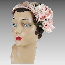 1960s Vintage Hat Pale Pink Half Hat - Clip Hat - Pink Satin Rose - G Howard Hodge