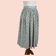 1950s Vintage Skirt Rayon Teal and Pink Butterfly Full Swing W22