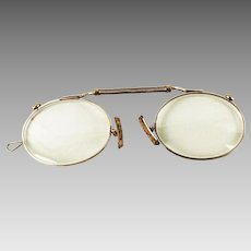 Antique Pince Nez Goldtone Eyeglasses Eyewear Spring Bridge Spectacles 10Kt