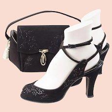 1950s Vintage Brown Beaded Box Handbag and Matching Peeptoe Platform Sandals Shoes by Cangemi Sz 7 1/2