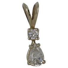Vintage 14k Gold Double Diamond Pendant