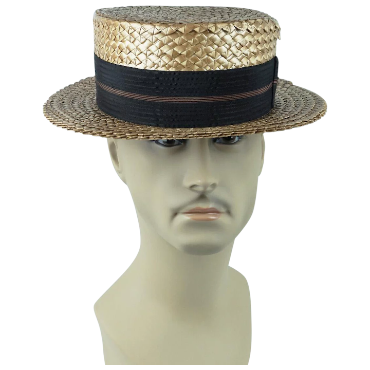 460e07c28cb50 1920s Vintage Mens Hat ~ Straw Boater by Betson Sz 7 1 8   Alley Cats  Vintage