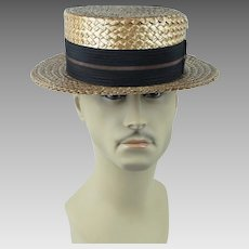 1920s Vintage Mens Hat ~ Straw Boater by Betson Sz 7 1/8