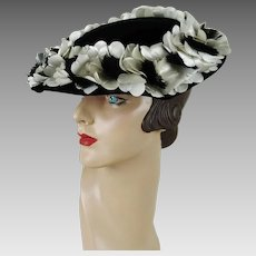 Vintage Hat Black and White Silk Petal and Feather Platter Hat