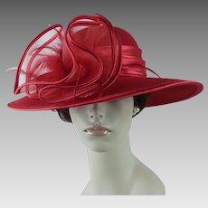 Vintage Hat Red Wide Brim Kentucky Derby Hat
