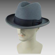 Vintage Royal De Luxe Stetson Homburg ~ St Regis ~ Gray Fedora Sz 7 1/4